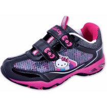 Zapatilla Velcro Con Luces Hello Kitty Originales