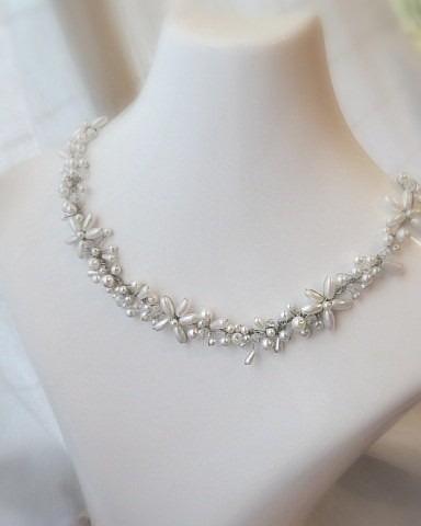 collar gargantilla perlas flores strass cristal novias 15