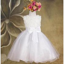 Vestido Fiesta Niña Blanco Rosas T. 3, 4, 5,6 Y 8 (bautizo)