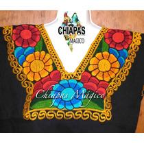 Blusa Negra Bordada A Máquina De Zinacantán, Chiapas (m)