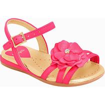 Sandália Infantil Pink Com Flor Pampili