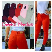 Calça Jeans Hotpants Colorida Primavera Verão Cós Alto
