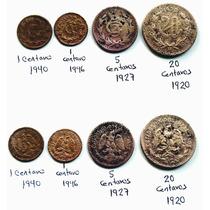 Moneda De 20 Ctvos 1920, 5 Ctvos 1927, 1 Ctvo 1946 Y 1940 C.