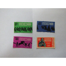4 Timbres Postales Olimpiadas México 68