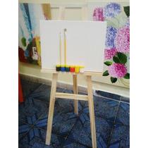 Kit De Pintura Infantil- Cavalete+tela 30x40+2piceis+6tintas