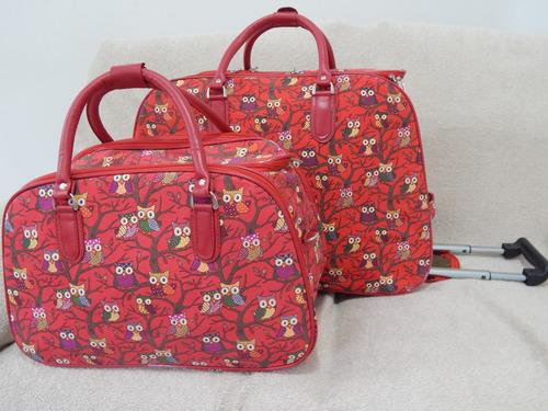 Bolsa De Viagem Feminina Rosa : Kit bolsa de viagem feminina com rodinha corujinha r