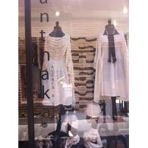 Capa Poncho Vestido Falda Tubular Alpaca Y Seda Tejido Punto
