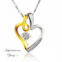 Collar Corazón De Mujer Oro Y Plata