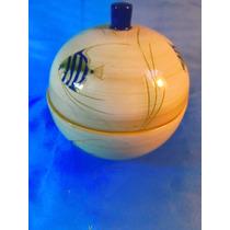 El Arcon Compotera De Porcelana Con Tapa Motivo Peces 33104
