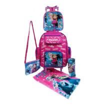 Mochila Escolar Infantil Frozen Rodinhas+ Lancheira Térmica