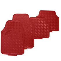 Jogo Tapete Metalico Tipo Aluminio Vermelho 4 Peças - Tuning