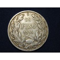 Moneda De Plata 1 Peso Chileno De 1916