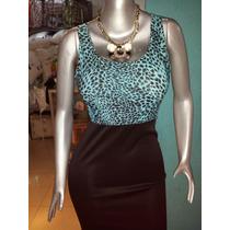 Vestidos Elegante Negro Con Animal Print Y Azul