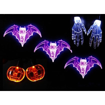 Serie 10 Luces Led Murciélagos Calabazas Garras Halloween