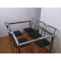 Mesa Inox 6 Cadeiras Semi Nova