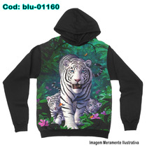 Blusa De Frio Moletom Unissex Tigres Brancos
