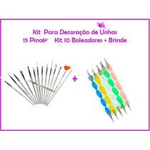 Kit 15 Pinceis + 10 Boleadores Decoração De Unhas + Brinde!