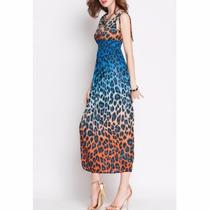 Liquido Vestido Importado Animal Print Muy Fresco!!!