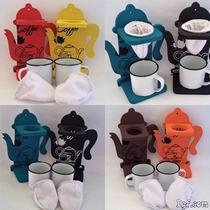 Coador Café Individual Forma De Bule Colorido+caneca+coador