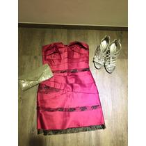 Vestido Bcbg Rosa Fiusha Strapless