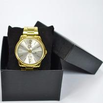 Relógio Feminino Ck Luxo Dourado Analógico Pronta Entrega