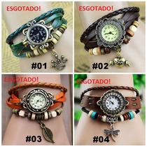 Relógio De Pulso Feminino Pulseira De Couro Vintage Pingente