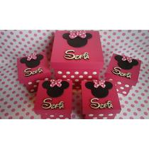 Cajitas Souvenir Minnie Mickey Con Nombre En Madera