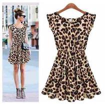 Vestido Casual Chiffon Onça Leopardo Tigresa
