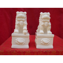 Par De Cães De Fó Cor Branca Louça Com Pedestal