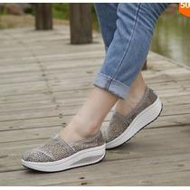 Zapatilla Sneaker Con Plataforma Femenino De Verano