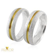 Aliança Em Prata Diamantada Arredondada Com Ouro 18k Pt012