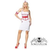 Sexy Disfraz Enfermera Leg Avenue Blanco Rojo Con Cofia M