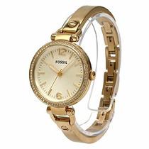 Relógio Feminino Fossil Es3227 Dourado Georgia Novo Original