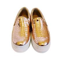 Clippate Alpargatas Panchas Doradas Zapatos En Cuero Mujer