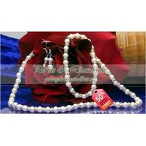 Set Collar Pulsera Aros Perlas Blancas Cultivadas De Río