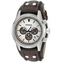 Fossil Reloj Hombre Piel Cafe Y Plateado Ch2565 Cuff Chrono