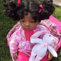 * Grandma Boneca Bebê Afro Negra Realista Reborn C/ Enxoval