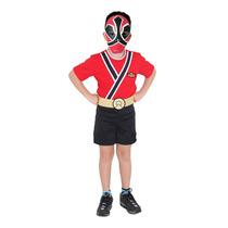 Fantasia Power Rangers Samurai C/ Máscara Curta P 3 A 4 Anos