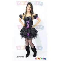 Fantasia De Bruxa Vestido Corpete Halloween Adulto Com Tiara