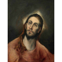 Lienzo Tela Cristo En Oración El Greco Arte Sacro 70 X 50 Cm