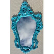 Espelho Veneziano Turquesa Provençal Com Moldura Em Resina