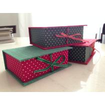 Caixa Caixinha Forrada Com Tecido - Natal Com Duas Unidades