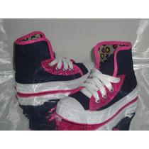 Tênis Botinha Infantil Feminino Jeans Glitter Rosa - 297