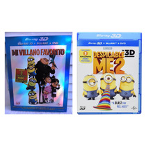 Mi Villano Favorito 1 Y 2 Peliculas 3d + Blu-ray + Dvd