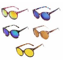 Oculos De Sol Feminino Espelhado Redondo Uv Paris Kim Grande