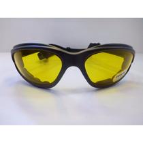 Lentes Goggle Manejar De Noche Mica Amarillo C/negro Banda