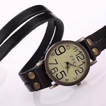 Relógio Feminino Vintage Com Pulseira De Couro - Quartzo