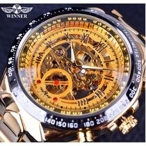 Relógio Masculino De Luxo Dourado Esqueleto Marca Winner