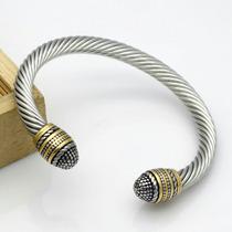 Pulsera Vintage Cable, Plateada Con Dorado. Acero Inoxidable
