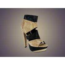 Zapatillas De Fiesta Oro/negro High Heels